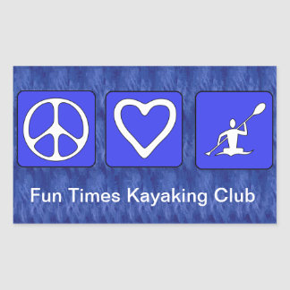 Amor de la paz Kayaking Rectangular Pegatina