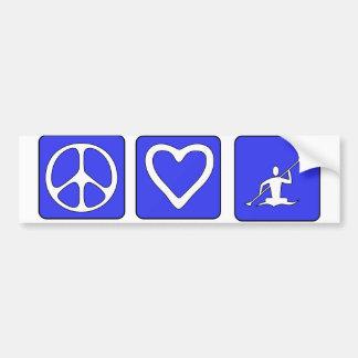 Amor de la paz Kayaking Pegatina Para Auto