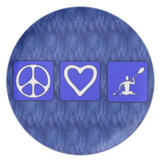 Amor de la paz Kayaking Plato De Comida