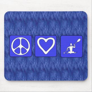Amor de la paz Kayaking Tapetes De Raton