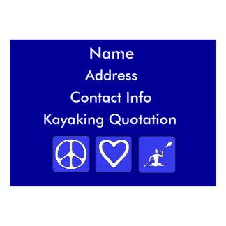 Amor de la paz Kayaking Tarjetas De Visita Grandes