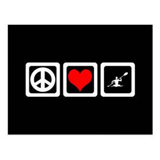 Amor de la paz kayaking postales