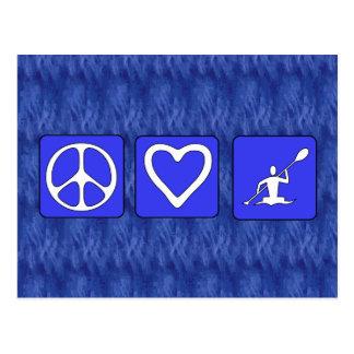 Amor de la paz Kayaking Postal