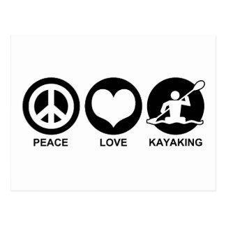 Amor de la paz Kayaking Tarjeta Postal