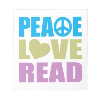 Amor de la paz leído bloc de papel