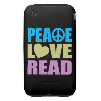 Amor de la paz leído tough iPhone 3 cárcasa