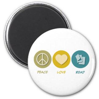 Amor de la paz leído imán redondo 5 cm