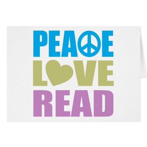 Amor de la paz leído tarjeta