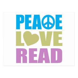 Amor de la paz leído tarjetas postales