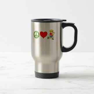 Amor de la paz que corre productos lindos de los taza de viaje de acero inoxidable