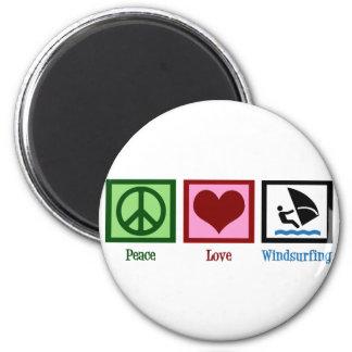 Amor de la paz Windsurfing Imán Redondo 5 Cm