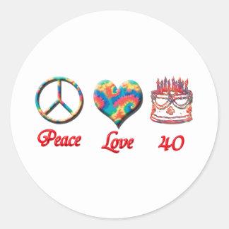 Amor de la paz y 40 años pegatina redonda