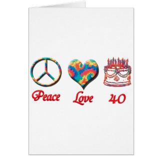 Amor de la paz y 40 años tarjeton