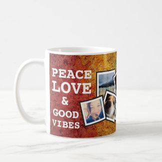 Amor de la paz y buenas fotos del arco iris 10 de taza básica blanca