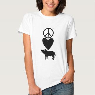 Amor de la paz y camisa de los cerdos