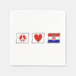 Amor de la paz y cuadrados de Croacia Servilleta Desechable