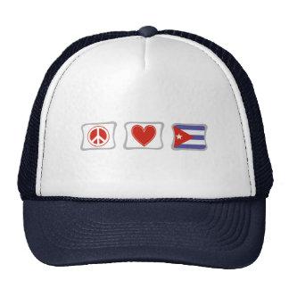 Amor de la paz y cuadrados de Cuba Gorra