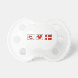 Amor de la paz y cuadrados de Dinamarca Chupete De Bebé