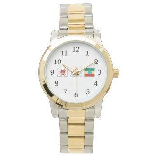 Amor de la paz y cuadrados de Etiopía Reloj