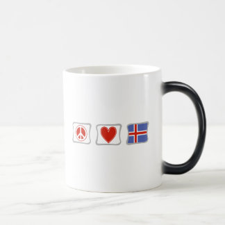 Amor de la paz y cuadrados de Islandia Taza Mágica