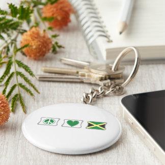 Amor de la paz y cuadrados de Jamaica Llavero Redondo Tipo Pin