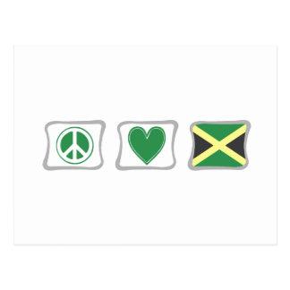 Amor de la paz y cuadrados de Jamaica Postales