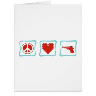 Amor de la paz y cuadrados de los armas tarjeta de felicitación grande