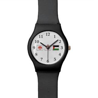 Amor de la paz y cuadrados de Palestina Relojes De Pulsera