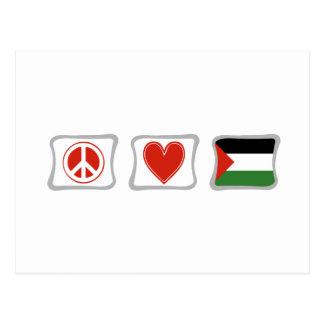 Amor de la paz y cuadrados de Palestina Tarjetas Postales
