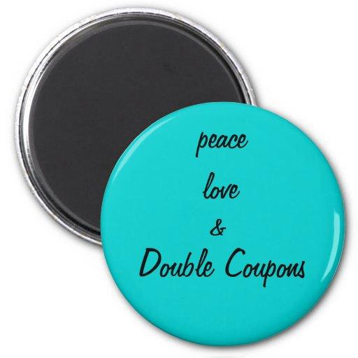 amor de la paz y cupones dobles imán