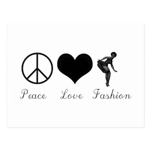 ¡Amor de la paz y diseño fresco de la moda! Tarjetas Postales
