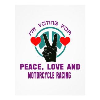 Amor de la paz y el competir con de la motocicleta membrete