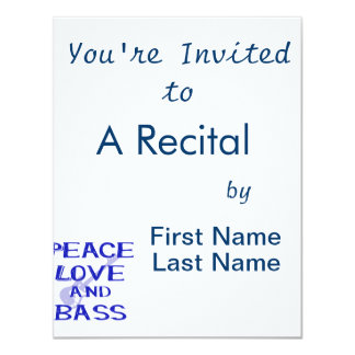 """amor de la paz y guitarra azul del bernice w del invitación 4.25"""" x 5.5"""""""