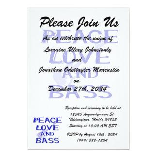 """amor de la paz y guitarra azul del bernice w del invitación 5"""" x 7"""""""