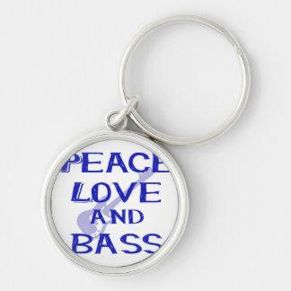 amor de la paz y guitarra azul del bernice w del llavero redondo plateado