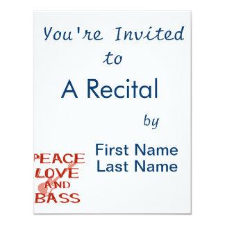 """amor de la paz y guitarra roja del bernice w del invitación 4.25"""" x 5.5"""""""