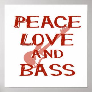 amor de la paz y guitarra roja del bernice w del poster