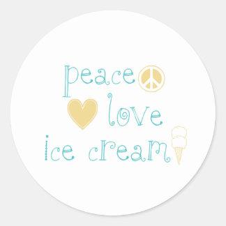 Amor de la paz y helado pegatina redonda