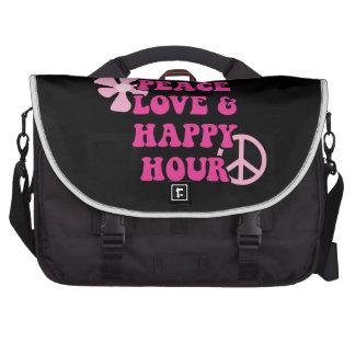 Amor de la paz y hora feliz bolsas de ordenador