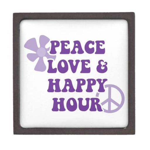 Amor de la paz y hora feliz cajas de regalo de calidad