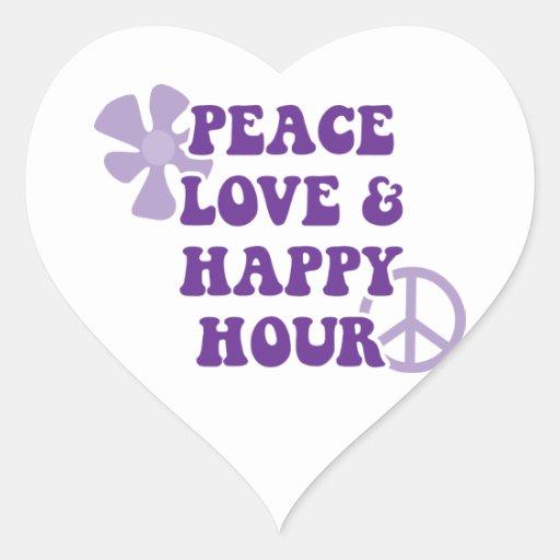 Amor de la paz y hora feliz pegatina corazon personalizadas