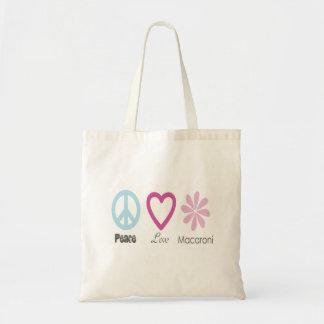 Amor de la paz y la bolsa de asas de los macarrone