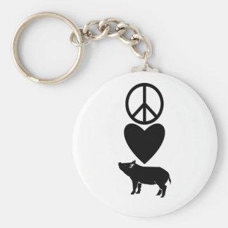 Amor de la paz y llavero de los cerdos