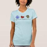 Amor de la paz y patas fangosas del danés camiseta