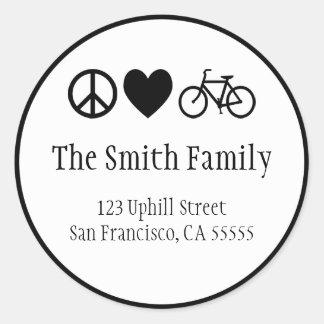 Amor de la paz y pegatina de las bicicletas