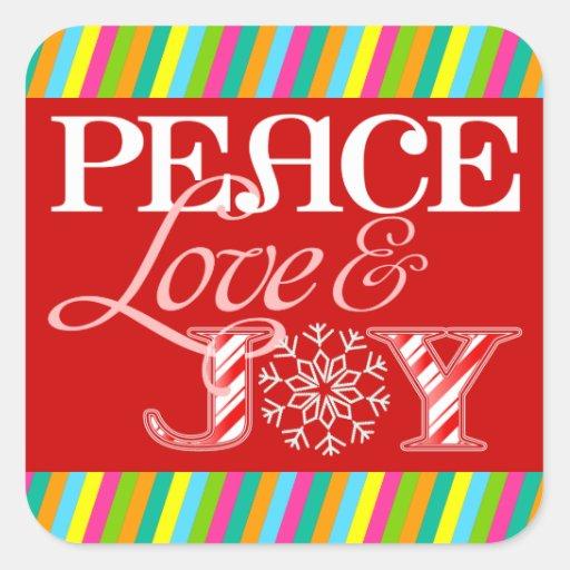 Amor de la paz y pegatinas caprichosos del día de pegatina cuadrada
