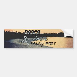 Amor de la paz y pies de Sandy Pegatina De Parachoque