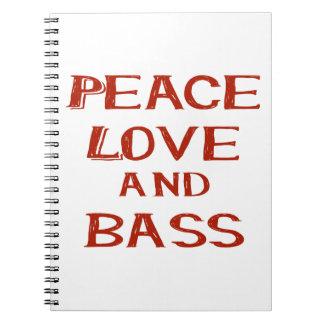 amor de la paz y rojo del bernice del bajo libro de apuntes con espiral