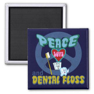 Amor de la paz y seda dental imán cuadrado