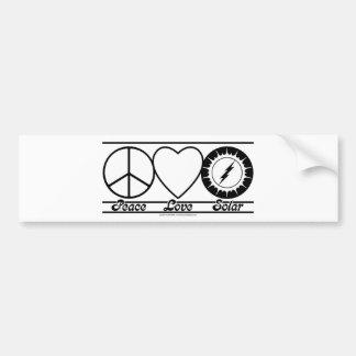 Amor de la paz y solar pegatina para auto